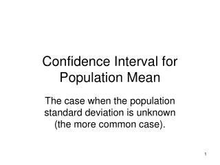 Confidence Interval for Population Mean