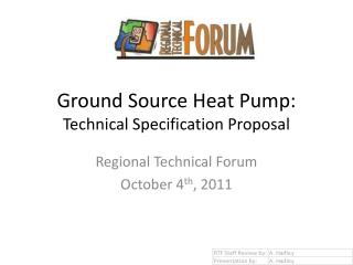 Ground Source Heat Pump: Technical Specification Proposal