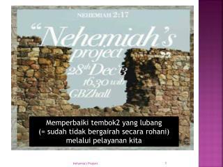 Memperbaiki  tembok2 yang  lubang (=  sudah tidak bergairah secara rohani )