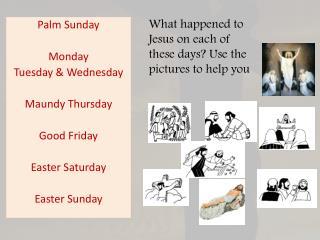 Palm Sunday Monday Tuesday & Wednesday Maundy Thursday Good Friday Easter Saturday Easter Sunday