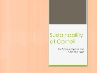 Sustainability at Cornell