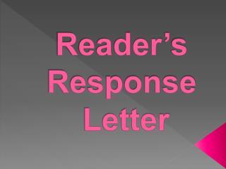 Reader's Response Letter