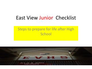 East View  Junior   Checklist