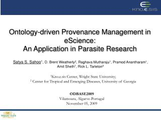 Ontology-driven Provenance Management in eScience:  An  Application in Parasite Research