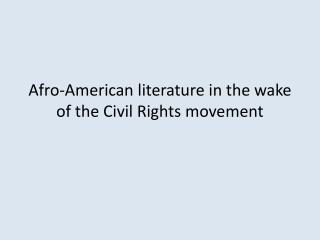 Afro-American literature in the wake of the Civil Rights movement