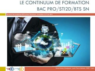 Le continuum de formation  Bac Pro/STI2D/BTS SN