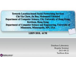 Database Laboratory Regular Seminar 2013-09-22 TaeHoon  Kim