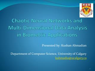 Chaotic Neural Networks and  Multi-Dimensional Data Analysis in Biometric Applications