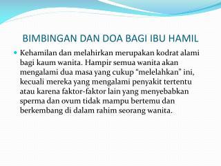 BIMBINGAN DAN DOA BAGI IBU HAMIL