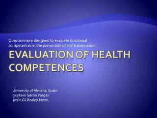 Evaluation of Health Competences