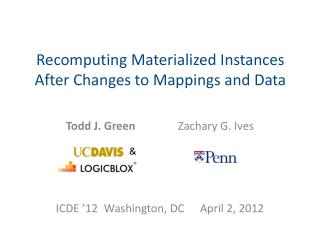 Recomputing  Materialized Instances After Changes to Mappings and Data