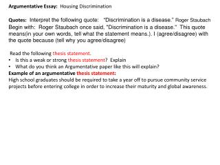 Argumentative  Essay:   Housing Discrimination