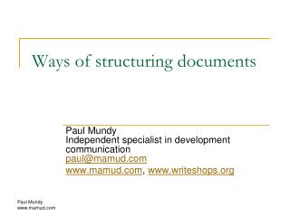 Ways of structuring documents
