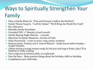 Ways to Spiritually Strengthen Your Family