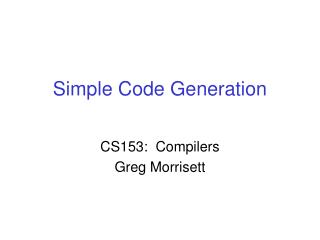 Simple Code Generation