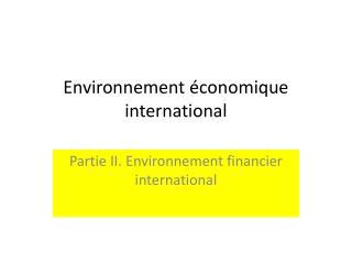 Environnement économique international