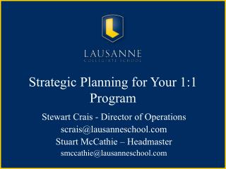 Strategic Planning for Your 1:1 Program
