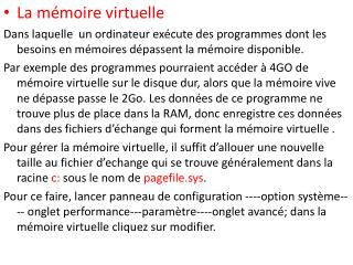 La mémoire virtuelle