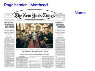 Page header - Masthead