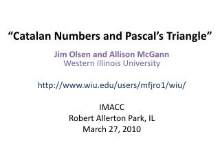 �Catalan Numbers and Pascal�s Triangle�