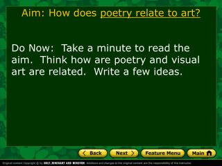 Aim: How does  poetry relate to art?