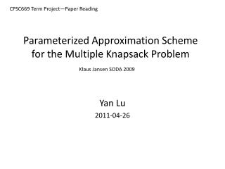 Parameterized Approximation Scheme for the Multiple Knapsack  Problem