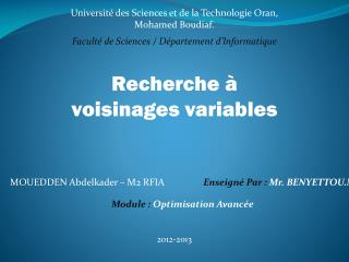 Université des Sciences et de la Technologie Oran, Mohamed Boudiaf .