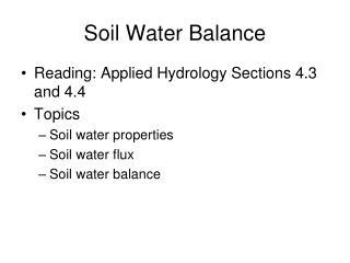 Soil Water Balance