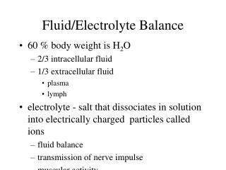 FluidElectrolyte Balance