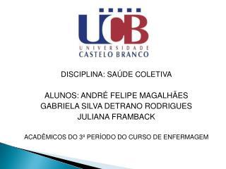 DISCIPLINA: SAÚDE COLETIVA ALUNOS: ANDRÉ FELIPE MAGALHÃES GABRIELA SILVA DETRANO RODRIGUES