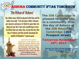 Ashura Community  Iftar tomorrow