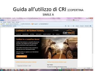 Guida all�utilizzo di CRI  (COPERTINA SIMILE A