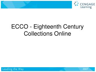 ECCO - Eighteenth Century Collections Online