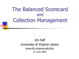 The Balanced Scorecard and Collection Managemen