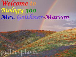 Welcome to Biology 300 Mrs.  Geithner -Marron