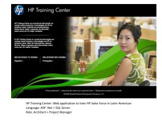 HP Training Center: Web application to train HP Sales Force in Latin-American