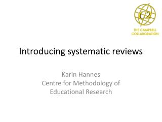 Introducing systematic reviews