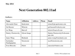 Next Generation  802.11ad