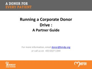 Running a Corporate Donor Drive : A Partner Guide