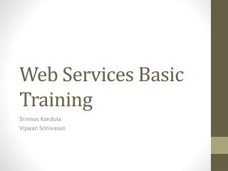 Web Services Basic Training