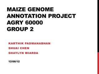 Maize genome annotation project Agry 60000 group 2
