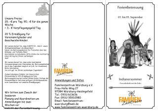 Anmeldungen  und  Infos : Familienzentrum  Würzburg e.V. Frau-Holle-Weg 27