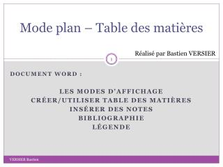Mode plan � Table des mati�res