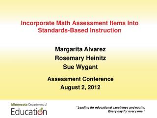 Incorporate Math Assessment Items Into Standards-Based Instruction