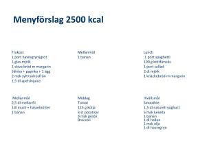 Menyförslag 2500 kcal