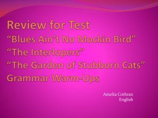 Amelia  Cothran English