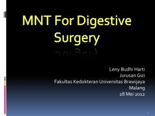 MNT For Digestive Surgery