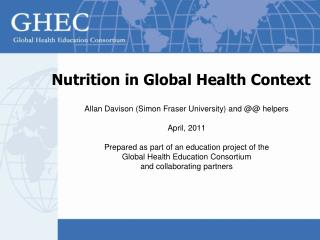 Nutrition in Global Health Context