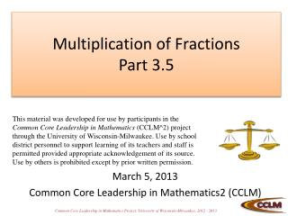 Multiplication of Fractions Part  3.5