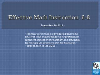 Effective Math Instruction  6-8